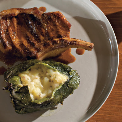 Pork Chops with Chiles Rellenos and Ancho Sauce