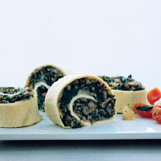 Egg Roulade Stuffed with Turkey Sausage, Mushrooms, and Spinach