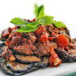 Italian-Paleo Eggplant with Crumbled Beef, Tomatoes and Mint