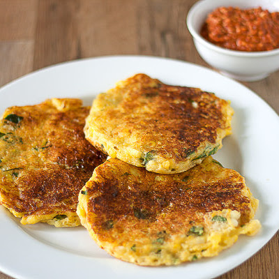 Summer Corn Fritters with Roasted Pepper Romesco Sauce