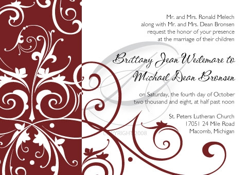Brittany choose a very pretty swirled graphic for her invitation