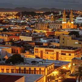 Old Mexico by John Matzick - City,  Street & Park  Skylines ( mazatlan, mexico, street, twilight, cityscape, town, dusk, city )