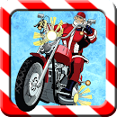 Christmas biker game icon