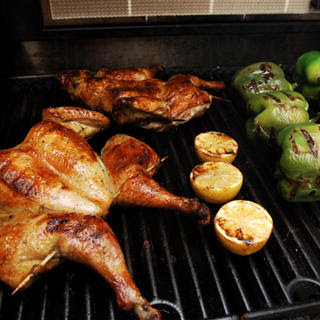 Oregano-Marinated Grilled Chicken with Charred Lemons