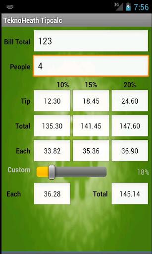 TeknoHeath Tip Calculator