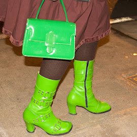 Greens don't quite match lady. by Dan Dusek - Artistic Objects Clothing & Accessories ( shoes, green, artistic objects, city street, boots )