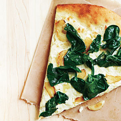 Three-Cheese White Pizza with Spinach