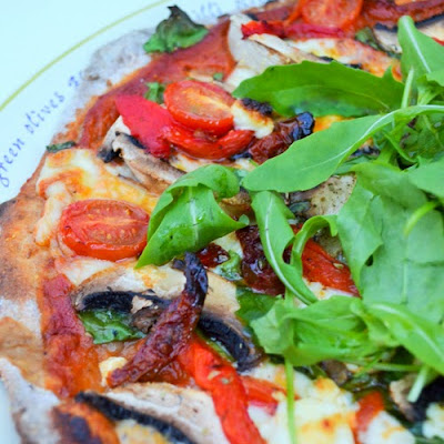 Mediterranean Pizza with Goats Cheese and Rocket