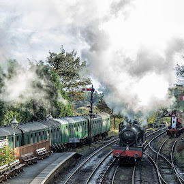 Steam Train at Bridgnorth by Dez Green - Transportation Trains ( railway, vintage, steam train, train, historical, steam,  )