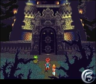 Chrono, Marle e Frog se aproximam de um castelo