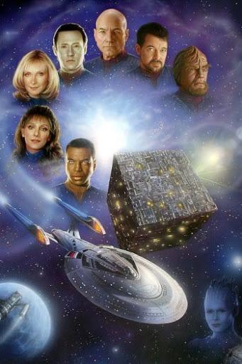 da direita para a esquerda: Worf, Riker, Picard, Data, Crusher, Troi, LaForge, um cubo Borg, a Enterprise-E e a Rainha Borg