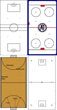 acima: hóquei sobre patins, hóquei inline; abaixo: hóquei indoor, floorbol