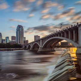 St. Anthony Falls Sunset Long Exposure by Chris Hurst - City,  Street & Park  Neighborhoods ( water, skyline, minnesota, mississippi river, sunset, minneapolis, waterfall, birdge, long exposure, river,  )