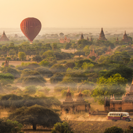 Moring Bagan with classic bus by Krissanapong Wongsawarng - City,  Street & Park  Historic Districts