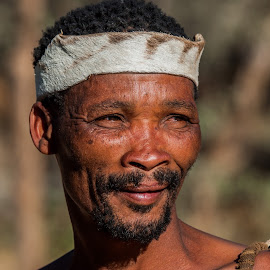 San Bushman by Johan Jooste Snr - People Portraits of Men ( person, san, indiginous, bushman, portrait, namibia )