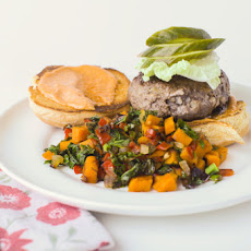 Beef Short Rib Burger with Sweet Potato and Kale Hash and Homemade Pickles