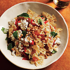 Mini Farfalle with Roasted Peppers, Onions, Feta, and Mint