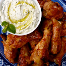 Blood Orange Glazed Chicken Wings with Minted Whipped Feta