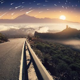 A way to the Stars by Mostafa Hamad - Landscapes Mountains & Hills ( clouds, mountains, sky, sunset, stars, a way to the stars, مصطفى حمد, mostafa hamad, startrails )