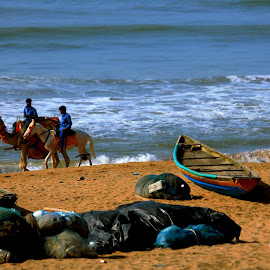 Three but one waiting for someone by Santanu Dutta - Transportation Boats