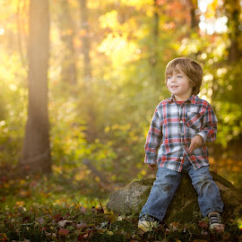 Golden Boy by Mike DeMicco - Babies & Children Child Portraits ( warm, colorful, yellow, leaf, cute, leaves, kid, nature, autumn, foliage, happy, fall, trees, handsome, boy )