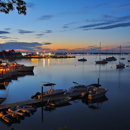 Night Calling by Eleanor Labrozzi - Transportation Boats ( water, sunset )