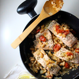 Steamed Salmon with Cannellini Beans and Tomatoes