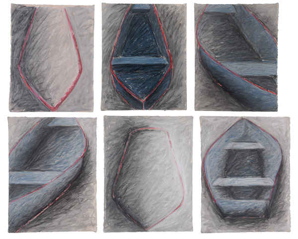 Six Boats Pastel <br>oil pastel, charcoal on paper<br> 26 x 31.5 in