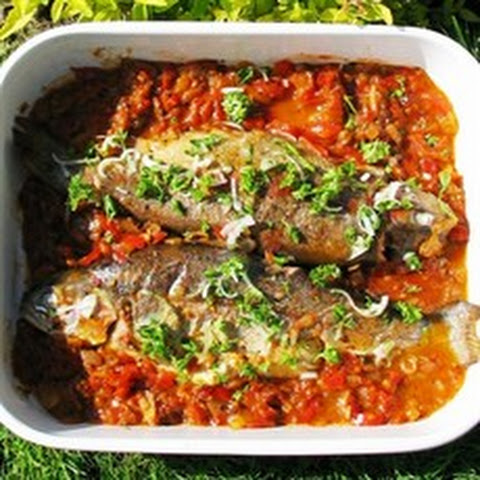 Marinated Trout with Tomatoes, Olives and Peppers