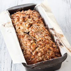 Banana bread with chocolate and macadamia nuts