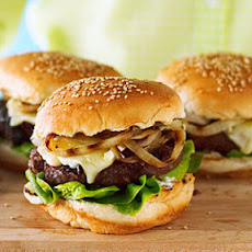 Cherry and Brie Burgers with Rosemary and Grilled Onion