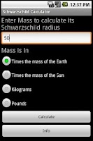 Screenshot of Schwarzschild Calculator
