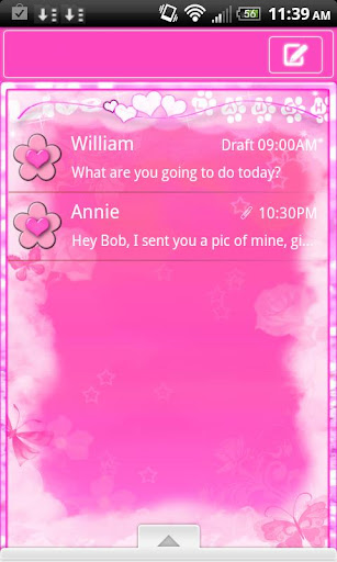 GO SMS PRO CUTE PINK THEME