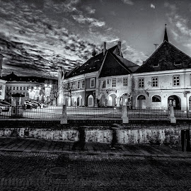Old Town Sibiu - Lesser Square by Florin Ihora - City,  Street & Park  Historic Districts ( b&w, hermannstadt, old town, romania, sibiu )