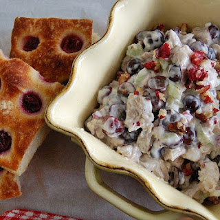 Red Walnuts+ Red Grape Chicken Salad on Grape Focaccia