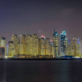 Dubai Marina Skyline by Andy Arciga (www.arcigaandy.com) - City,  Street & Park  Night ( night photography, nikkor 28-70 f2.8, nikon d600, dubai marina, long exposure, , city, night, Urban, City, Lifestyle )