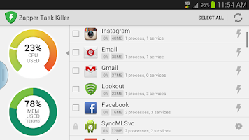 Screenshot of Zapper Task Killer & Manager