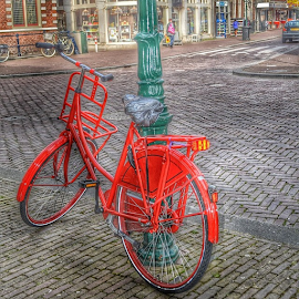 by Wendy Greenhut - City,  Street & Park  Street Scenes ( red, bicycle, holland )
