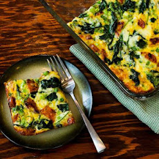 Chicken-Garlic Sausage, Kale, and Mozzarella Egg Bake