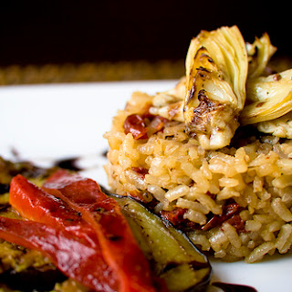 Baked Sundried Tomato Risotto With Grilled Veggies and Balsamic Reduction