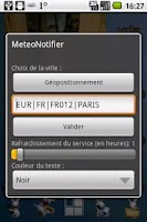 Screenshot of MeteoNotifier