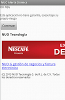Screenshot of NUO Alerta Sísmica México DF