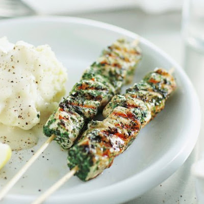 Herbed Fish Skewers With Smashed Potatoes And Skordalia