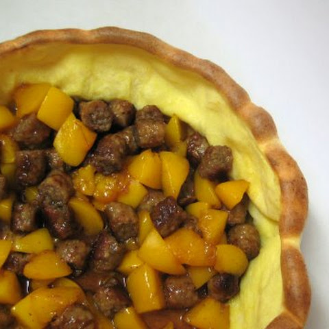 Sausage-Peach Filled Puff Pancake