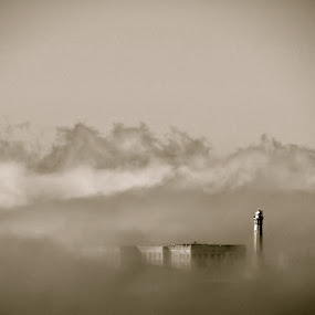 Alcatraz Fog by Jeff Steiner - Landscapes Travel ( san francisco bay, fog, light house, alcatraz prison, alcatraz island )