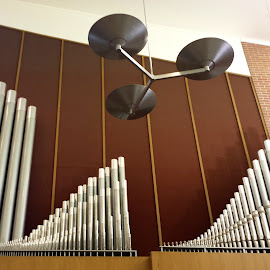 Pipe Organ by Donald Henninger - Instagram & Mobile Android ( contrast, patterns, musical instrument, metal, still life, abstract lines, lines, artistic objects, architecture, religious )