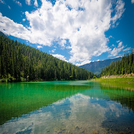 Olive Lake by Tracy Munson - Landscapes Waterscapes ( water, clouds, reflection, kootenay, lake, travel, olive lake, mountains, national park, nature, olivine, bc, british columbia, rock flour )