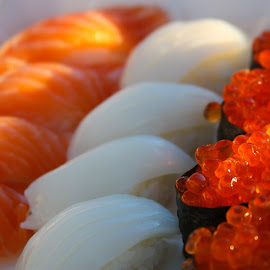 Salmon and Squid by Micaela Lafferty - Food & Drink Meats & Cheeses ( food, sushi, salmon, salmon roe, squid )