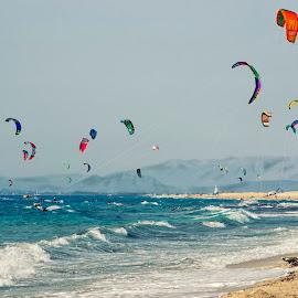 Kite at Lefkada by Milica Drobnjak Jovanovic - Landscapes Beaches ( greece, kite, sports, sea, beach sport, beach, kites )