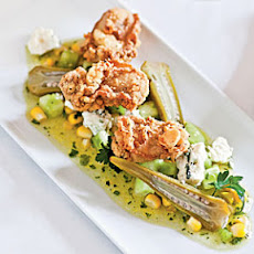 Fried Oysters with Green Tomato, Sweet Corn, and Blue Cheese Vinaigrette and Quick Pickled Okra